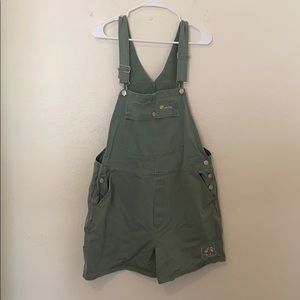 Vintage embroidered green overall shorts